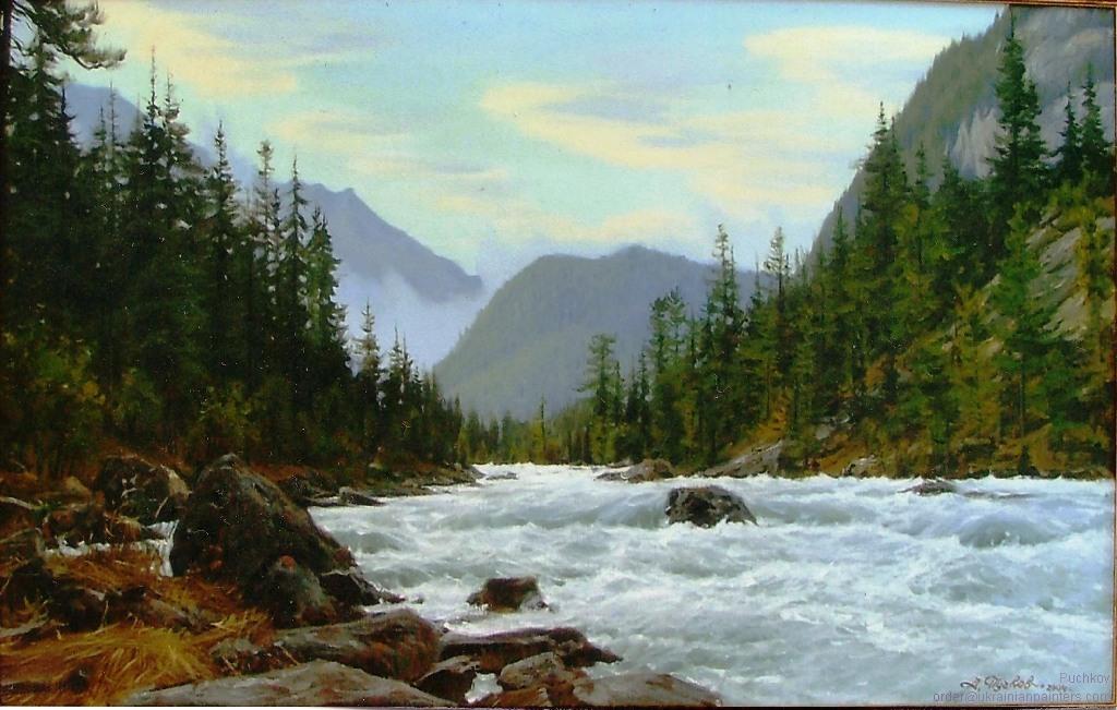 Mountain River. The Himalayas  ukrainianpainters.com